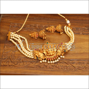 DESIGNER MATTE FINISH PEARL LAKSHMI NECKLACE SET UTV634 - Necklace Set