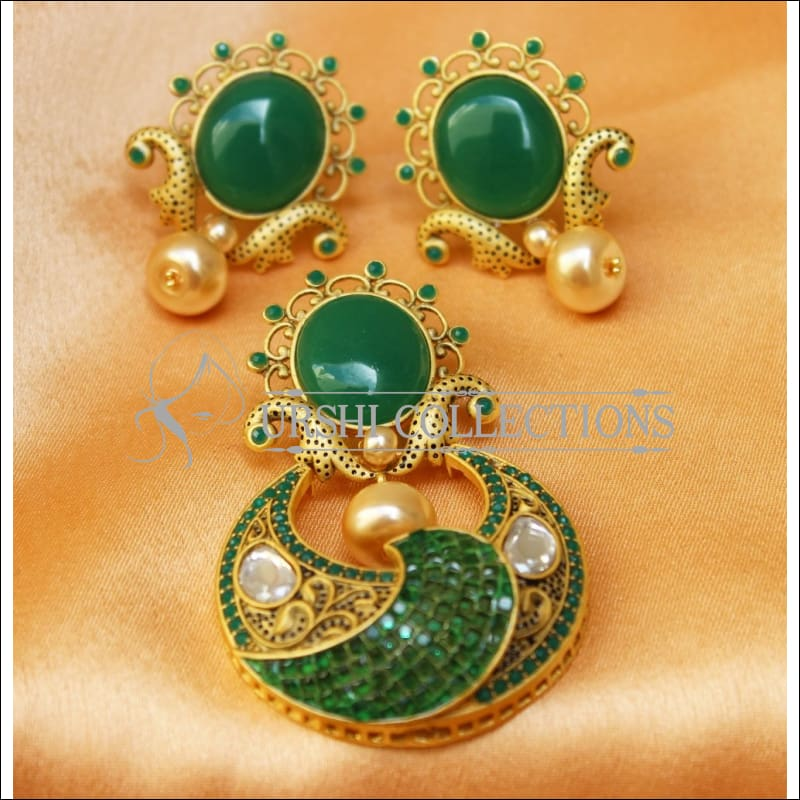 Designer Matte Finish Pendant Set UC-NEW1821 - Green - Pendant Set