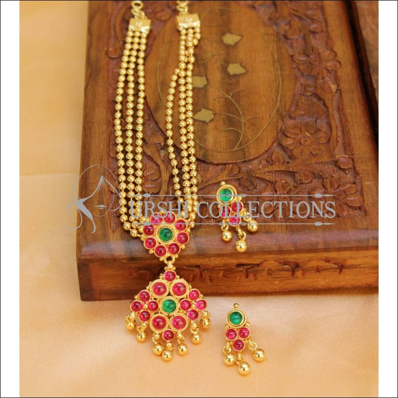 Designer Multi Layer Kempu Necklace Set UC-NEW292 - Ruby and Green - Necklace Set