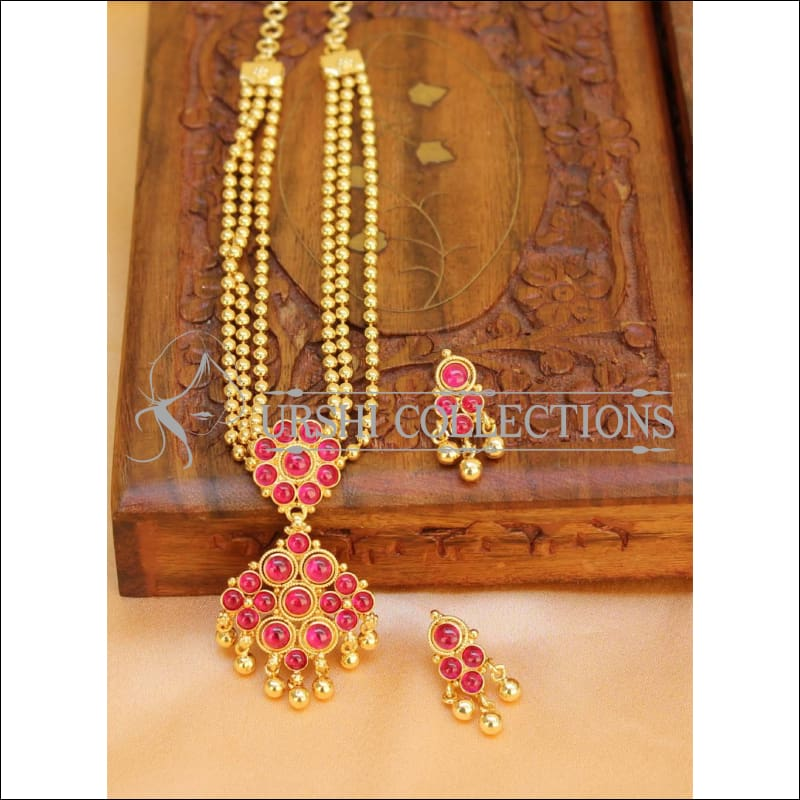 Designer Multi Layer Kempu Necklace Set UC-NEW292 - Ruby - Necklace Set