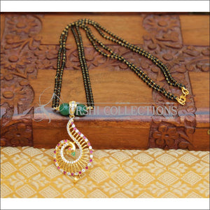 DESIGNER PEACOCK BLACK BEADS NECKLACE UTV46 - GREEN - Mangalsutra