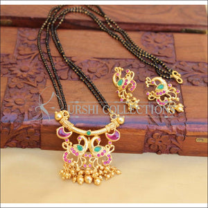 DESIGNER PEACOCK BLACKBEAD NECKLACE SET UC-NEW3089 - Mangalsutra