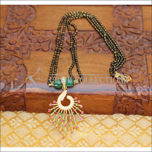 DESIGNER PEACOCK BLACKBEAD NECKLACE UTV44 - GREEN - Mangalsutra