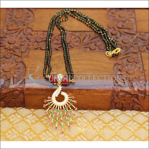 DESIGNER PEACOCK BLACKBEAD NECKLACE UTV44 - RED - Mangalsutra