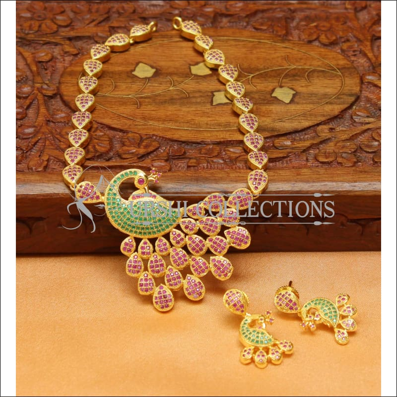 Designer Peacock CZ Necklace Set UC-NEW1443 - Ruby and Green - Necklace Set