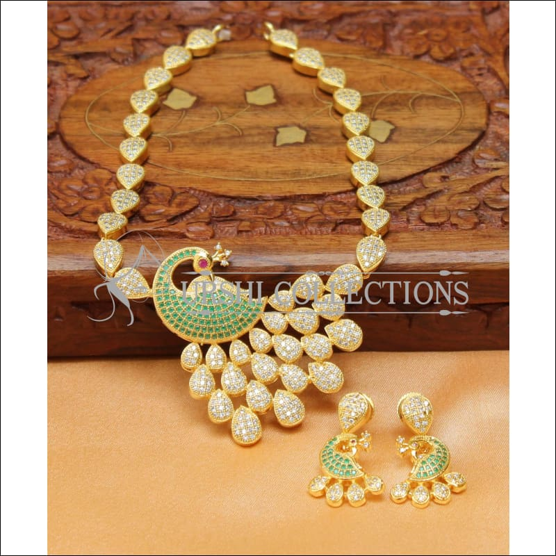 Designer Peacock CZ Necklace Set UC-NEW1443 - White and Green - Necklace Set