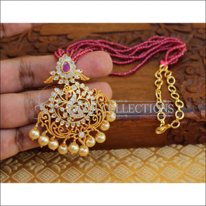 DESIGNER PENDANT SET WITH CRYSTAL BEADS UC-NEW3300 - PENDANT WITH PINK BEADS - Pendant Set