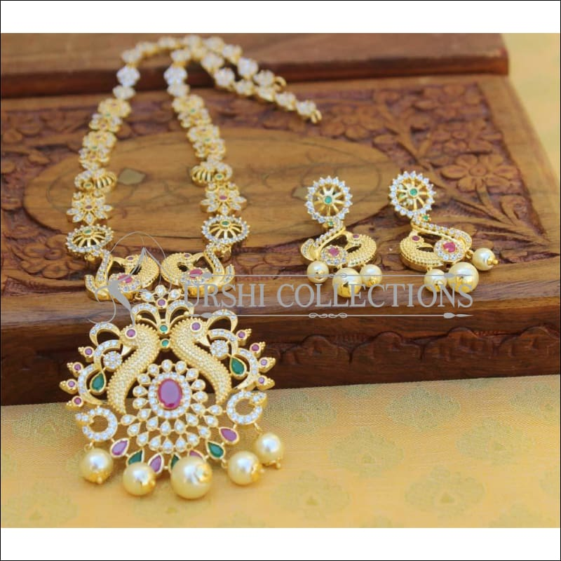 Elegant American Diamond Peacock Necklace Set UC-NEW548 - Necklace Set