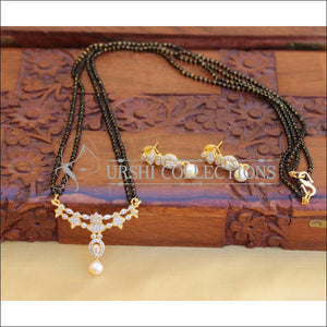 ELEGANT BLACK BEADS CZ NECKLACE SET UTV746 - Necklace Set