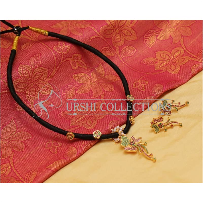 Elegant Black Thread Necklace Set UC-NEW983 - Necklace Set