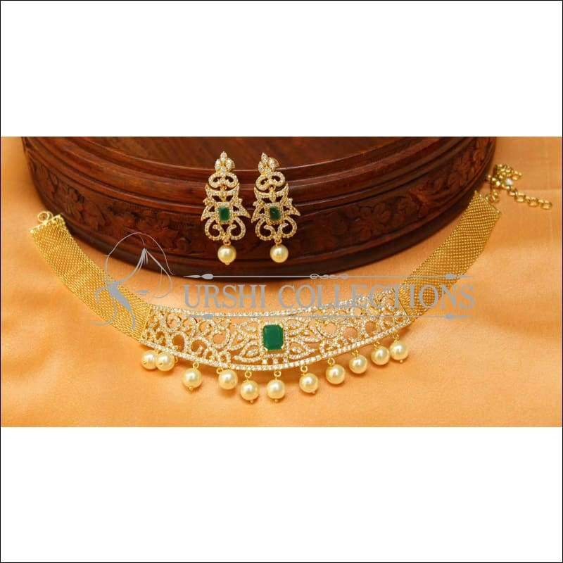 Elegant CZ Choker Set UC-NEW1644 - Necklace Set