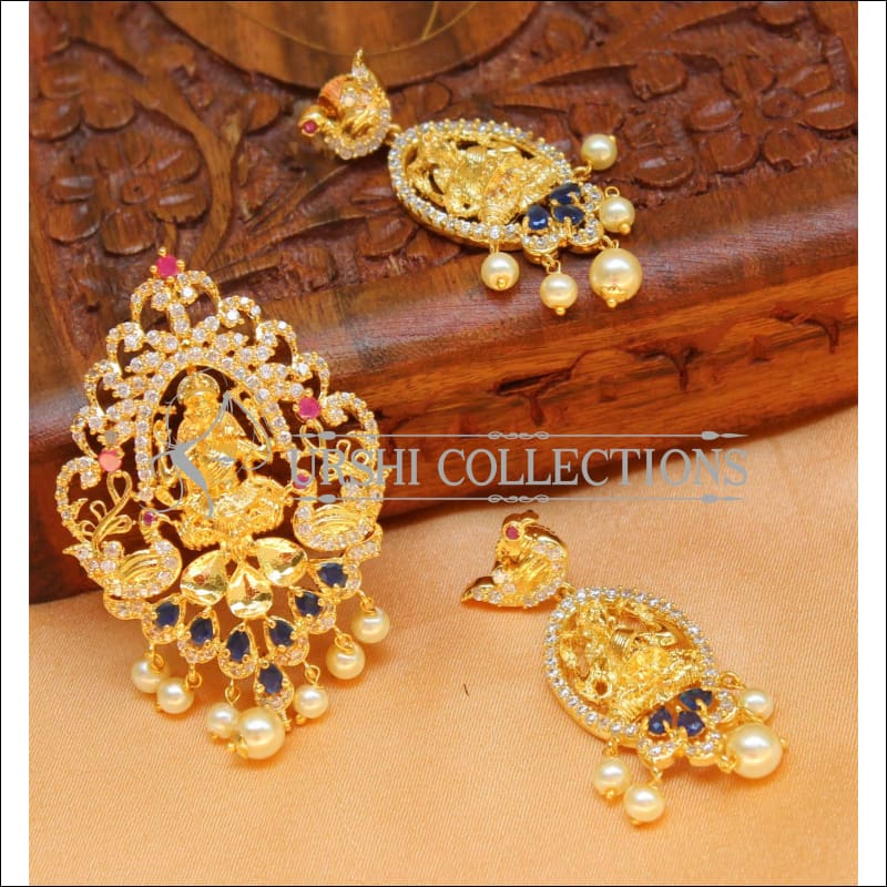 Elegant CZ lakshmi Pendant Set UC-NEW883 - Blue and Ruby - Pendant Set