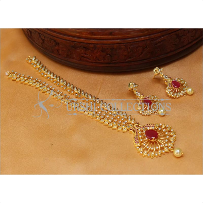 Elegant CZ Peacock Necklace Set UC-NEW1453 - Ruby - Necklace Set