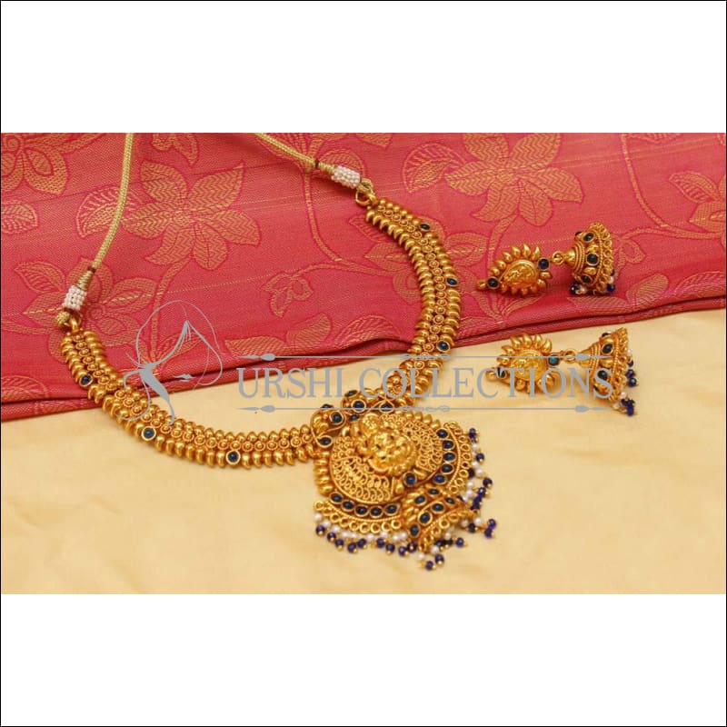 Elegant Geru Polish Temple Necklace Set UC-NEW1249 - Blue - Necklace Set