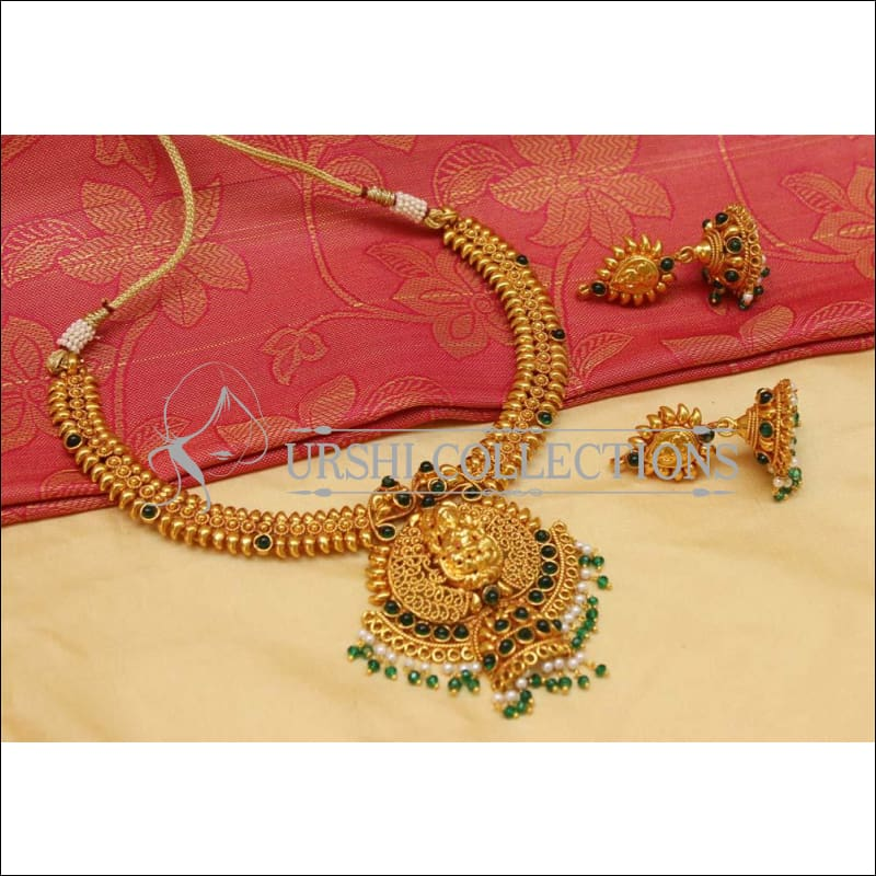 Elegant Geru Polish Temple Necklace Set UC-NEW1249 - Green - Necklace Set