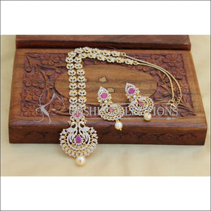 Elegant Gold Plated CZ Necklace Set UC-NEW2583 - Ruby - Necklace Set