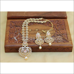 Elegant Gold Plated CZ Necklace Set UC-NEW2583 - Yellow Diamond - Necklace Set
