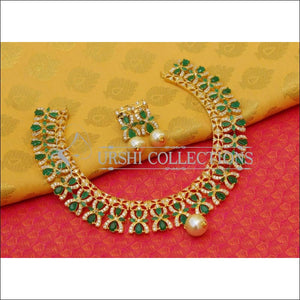 Elegant Gold Plated CZ Necklace Set UC-NEW2586 - Green - Necklace Set