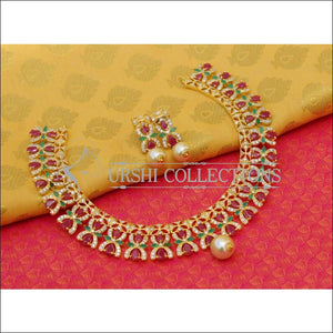 Elegant Gold Plated CZ Necklace Set UC-NEW2586 - Multi - Necklace Set