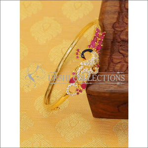 Elegant Gold Plated CZ Peacock Bracelet UC-NEW1804 - Ruby - Bracelets
