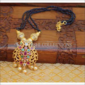ELEGANT GOLD PLATED CZ PEACOCK NECKLACE UTV665 - Necklace Set