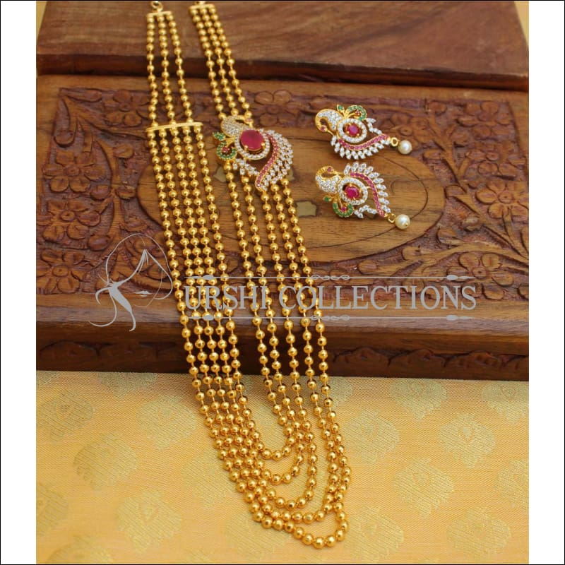 Elegant Gold Plated Five Layer Necklace Set UC-NEW 544 - Multi - Necklace Set