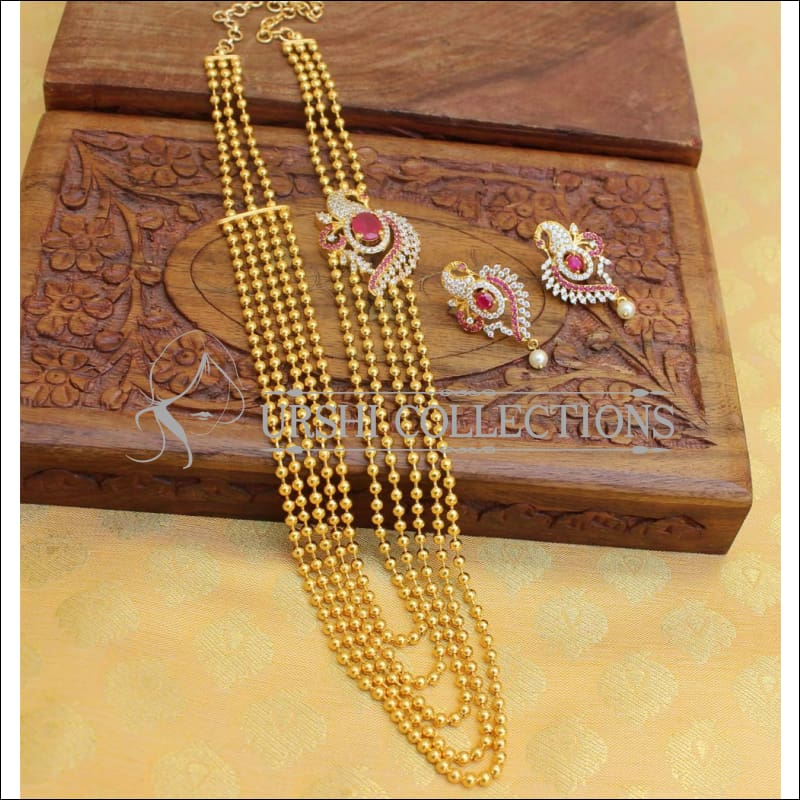 Elegant Gold Plated Five Layer Necklace Set UC-NEW 544 - Ruby and White - Necklace Set