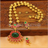 Elegant Gold Plated Kempu Pendant Set UC-NEW1777 - Pendant Set