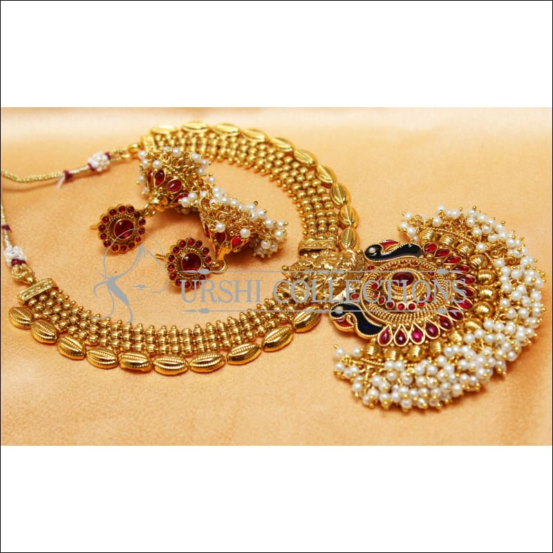 Elegant Gold Plated Lakshmi Necklace Set UC-NEW2573 - Red - Necklace Set