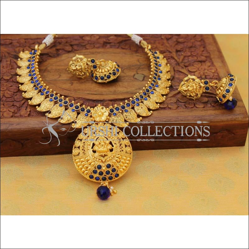 Elegant Gold Plated Lakshmi Necklace Set UC-NEW760 - Blue - Necklace Set