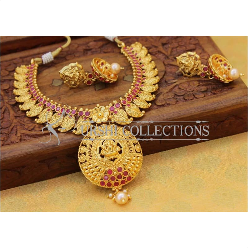 Elegant Gold Plated Lakshmi Necklace Set UC-NEW760 - Red - Necklace Set