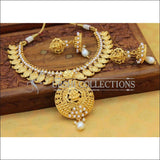 Elegant Gold Plated Lakshmi Necklace Set UC-NEW760 - White - Necklace Set