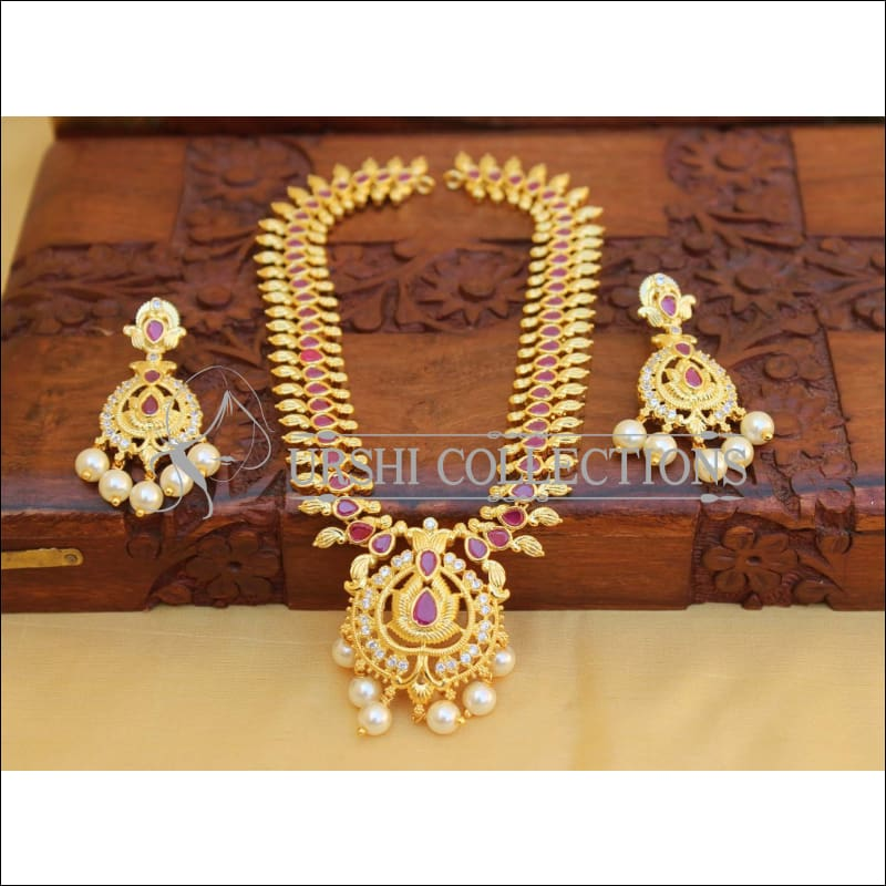 Elegant Gold Plated Mango Necklace Set UC-NEW1762 - Red - Necklace Set