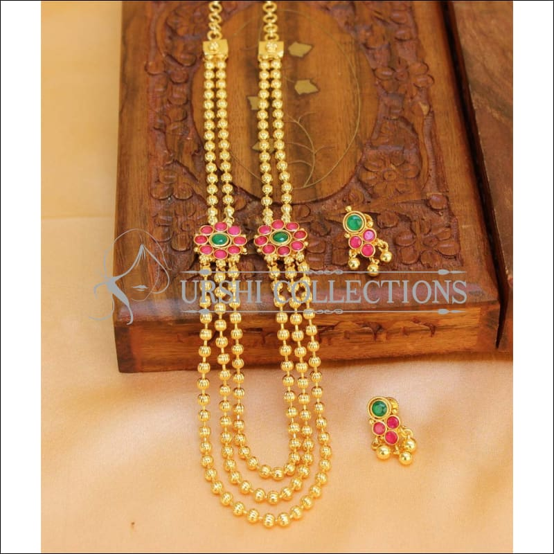 Elegant Gold Plated Multi Layer Necklace Set UC-NEW288 - Red and Green - Necklace Set