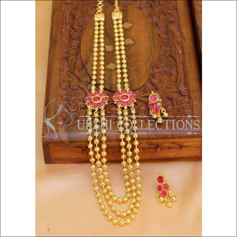 Elegant Gold Plated Multi Layer Necklace Set UC-NEW288 - Red - Necklace Set