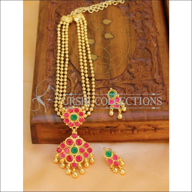 Elegant Gold Plated Multi Layer Necklace Set UC-NEW290 - Ruby and Green - Necklace Set