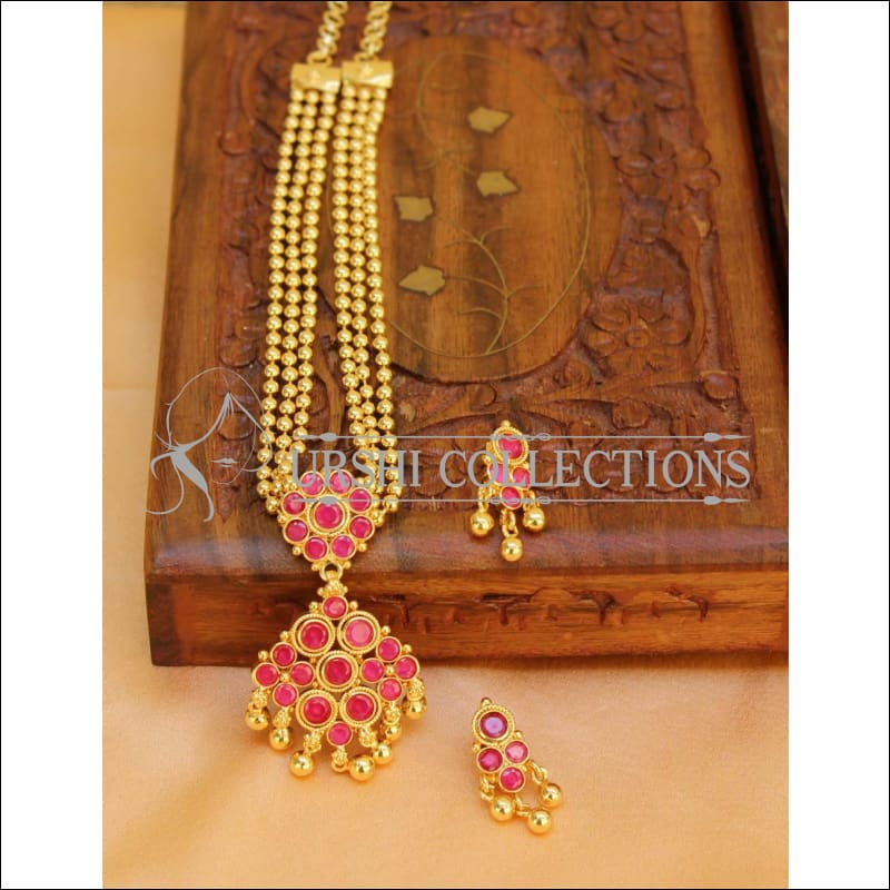 Elegant Gold Plated Multi Layer Necklace Set UC-NEW290 - Ruby - Necklace Set