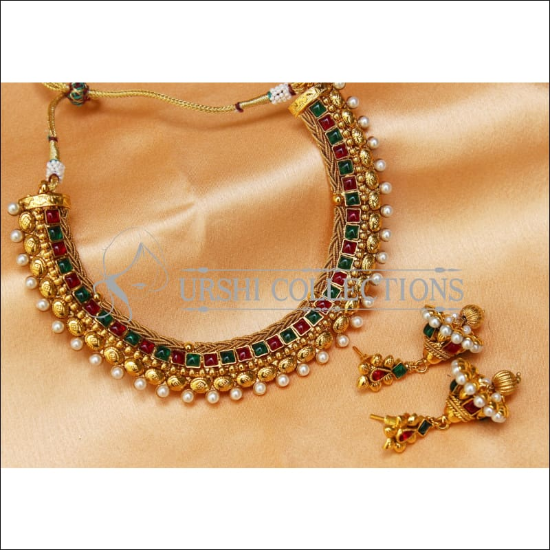 Elegant Gold Plated Necklace Set UC-NEW2572 - Necklace Set