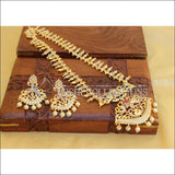Elegant Gold Plated Necklace Set UC-NEW88 - White and Pink - Necklace Set