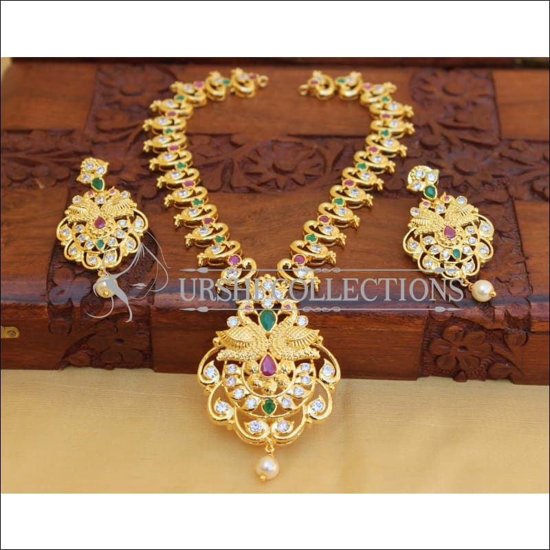 Elegant Gold Plated Peacock Necklace Set UC-NEW1770 - Multi - Necklace Set
