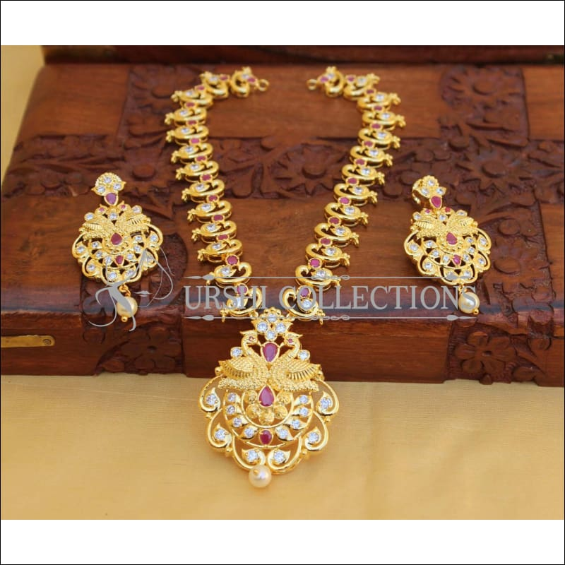 Elegant Gold Plated Peacock Necklace Set UC-NEW1770 - Red - Necklace Set