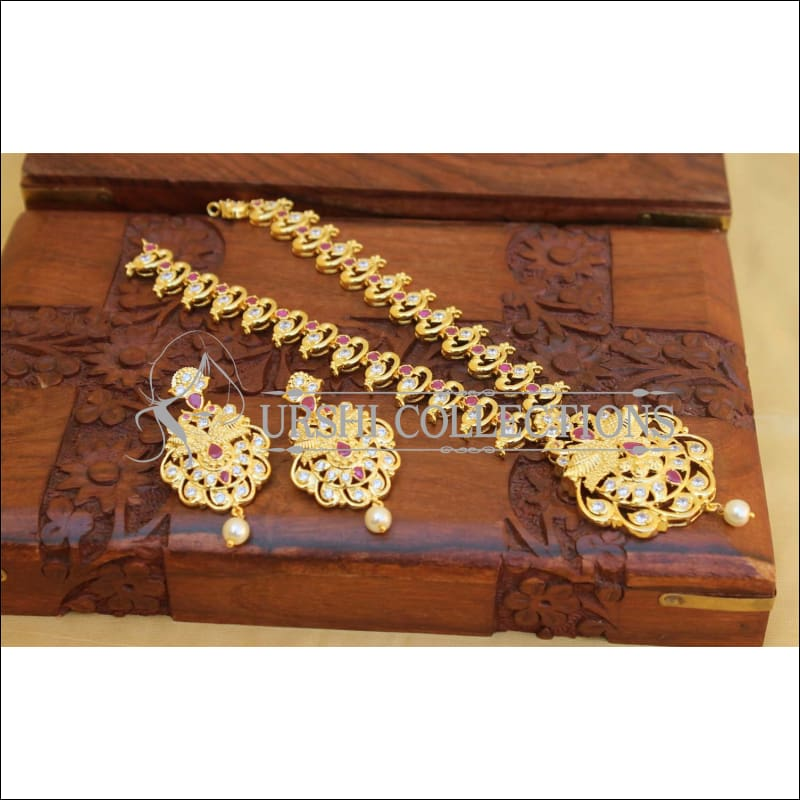 Elegant Gold Plated Peacock Necklace Set UC-NEW1770 - Necklace Set