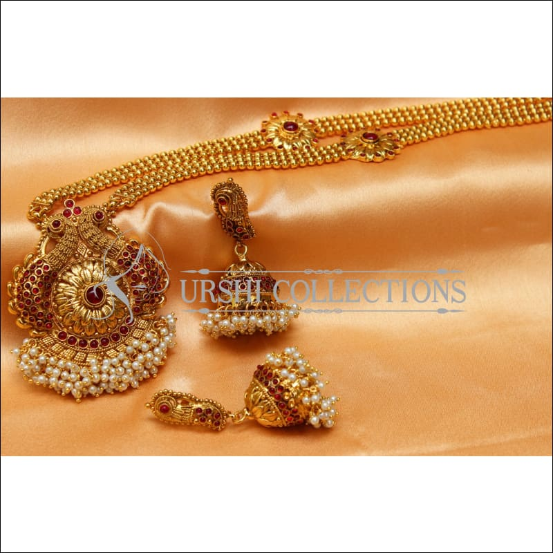 Elegant Gold Plated Peacock Necklace Set UC-NEW2570 - Necklace Set