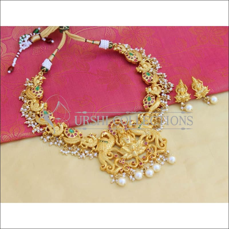 Elegant Gold Plated Peacock Necklace Set UC-NEW825 - Necklace Set