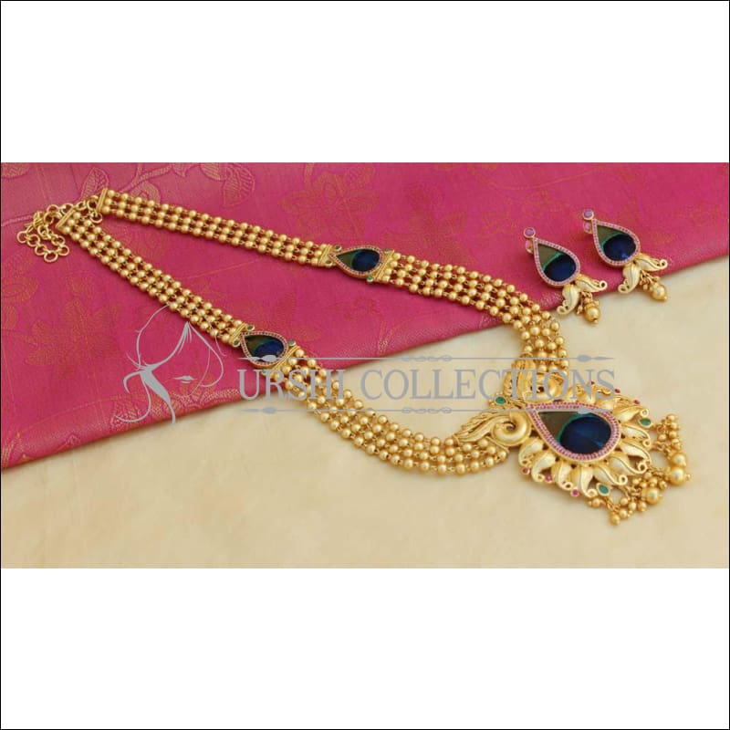 Elegant Gold Plated Peacock Necklace Set UC-NEW946 - Necklace Set