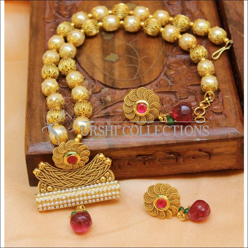 Elegant Gold Plated Pearl Necklace Set UC-NEW2452 - Red - Necklace Set