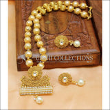 Elegant Gold Plated Pearl Necklace Set UC-NEW2452 - White - Necklace Set