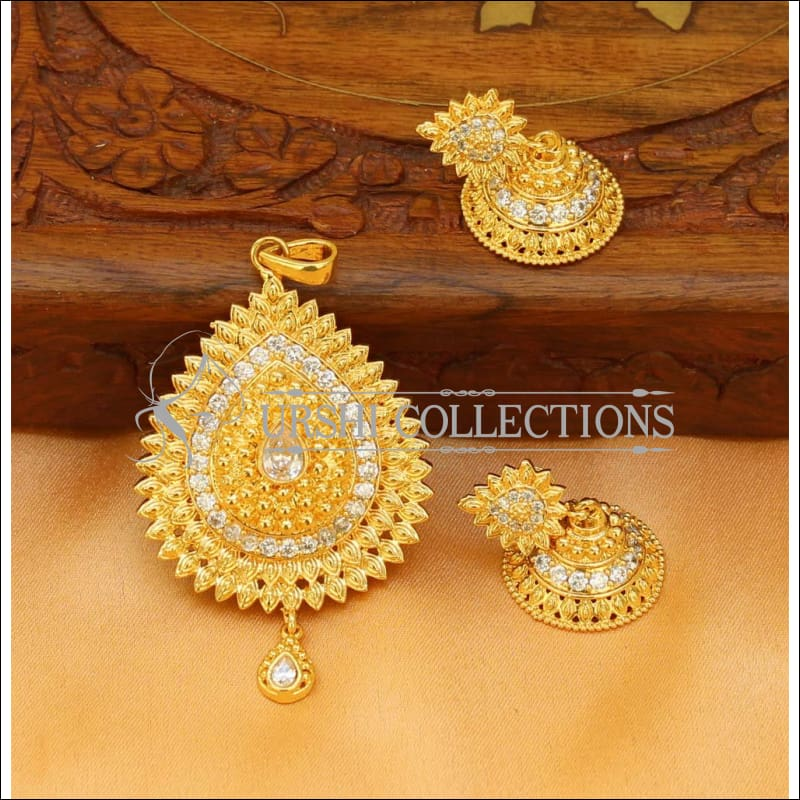 Elegant Gold Plated Pendant Set UC-NEW1783 - White - Pendant Set