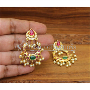 ELEGANT GOLD PLATED REAL KEMPU EARRINGS UTV542 - Earrings