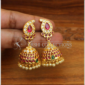 ELEGANT GOLD PLATED REAL KEMPU EARRINGS UTV545 - Earrings